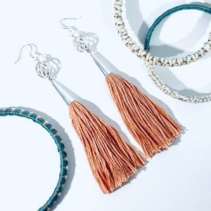 STIX+STONZ .925 Peach Tassel Earrings - Handmade